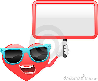 Heart cartoon character with sign