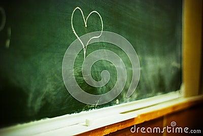 Heart on chalkboard