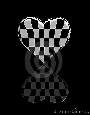Heart chess 3d black-and-white shot