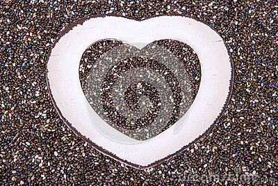 Heart in chia close up