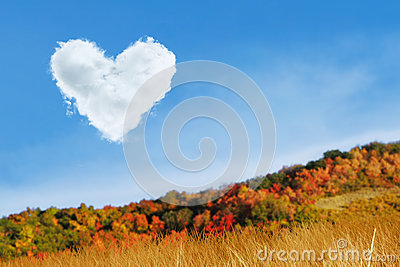 Heart cloud at autumn day