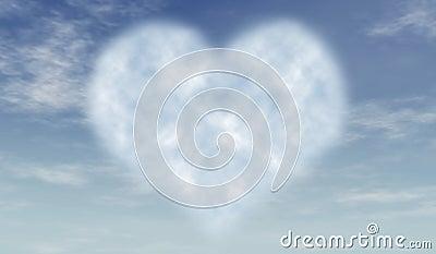 Heart cloud in blue sky