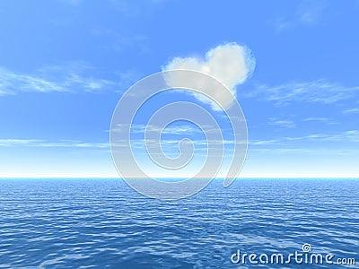 Heart cloud over sea