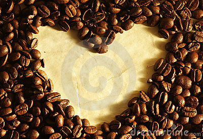 Heart in coffee beans
