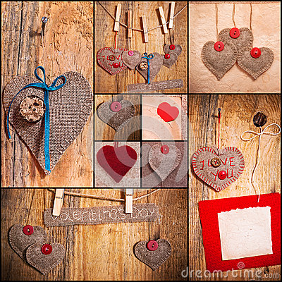 Free Heart Collage Valentines Love Hearts Set Fabric Old Paper Wood Royalty Free Stock Images - 28860349