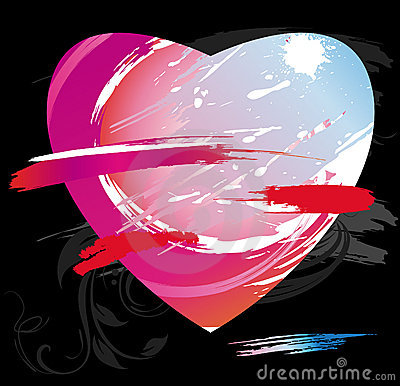Heart from color splashes and line brushes