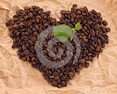 Heart composed of coffee and green leafage