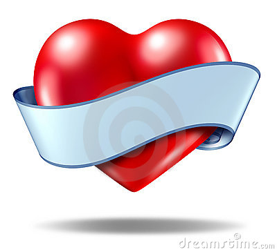 Heart concept and love icon with a blank ribbon