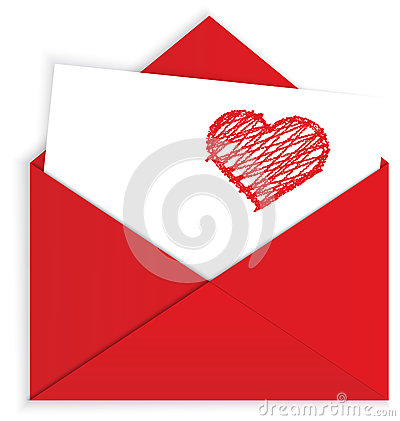 Free Heart Crayon On Red Envelope Vector Royalty Free Stock Photo - 28471005