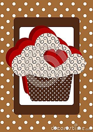 Heart Cupcake Polka Dot Card Stock Photo