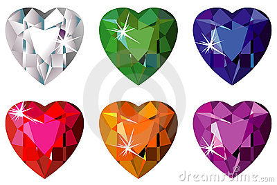 Heart cut precious stones with sparkle