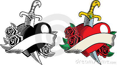 Heart dagger and flowers