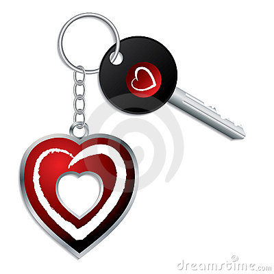 Heart design key with keychain and keyholder