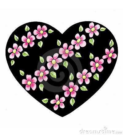Heart with diagonal flowers
