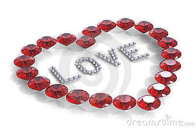 Heart of diamonds with word love