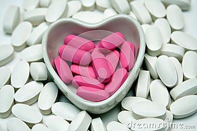Heart dish of Pills