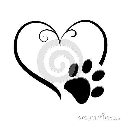 Heart and dog paw prints symbol tattoo Vector Illustration