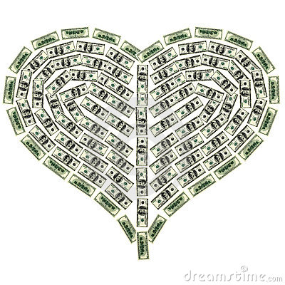 Heart from dollar