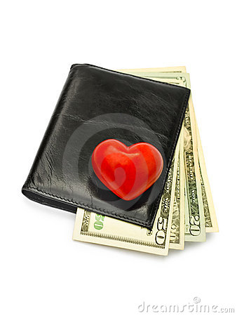 Heart on dollars in black wallet