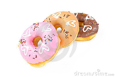 Heart donuts isolated