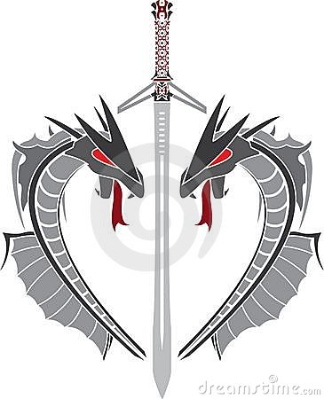 Heart of dragons and fantasy sword