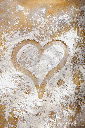 Heart drawn in flour