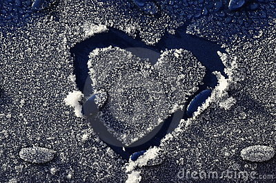 Heart drawn in frost o