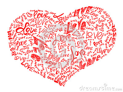 Heart drawn by pencil filled with love words