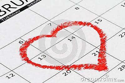 Heart drown on calendar