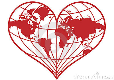 Heart earth globe,