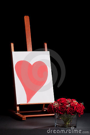Heart on easel and roses