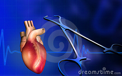 Heart with eco cardio gram pulse and surgical scis