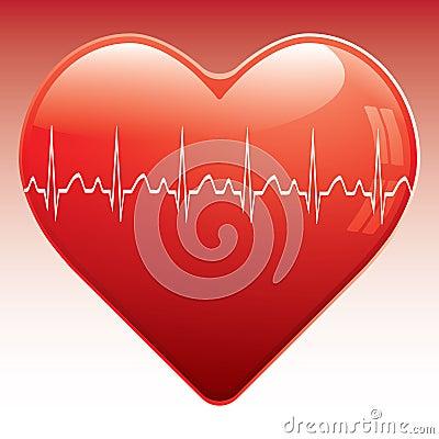 Heart with ekg .
