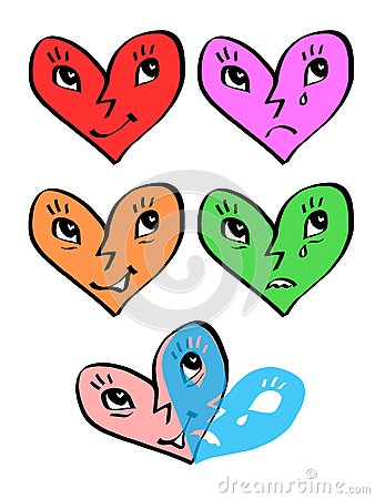 Heart emotion faces - joy and sadness masks