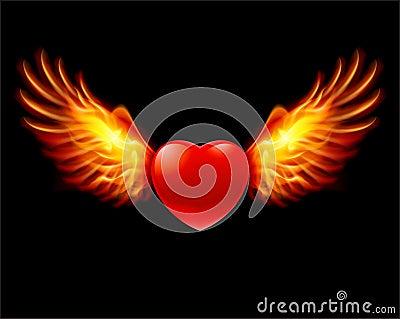 Heart in fiery wings