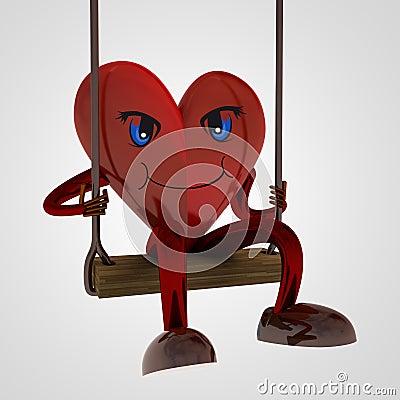 Heart figure swings on the seesaw