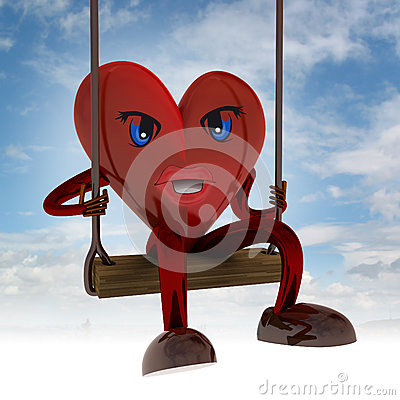 Heart figure swings on seesaw in the sky