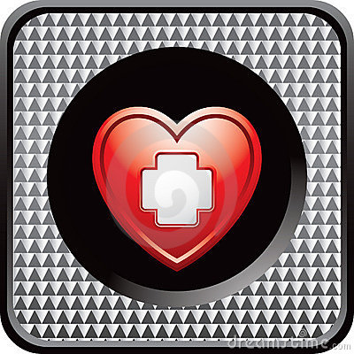 Heart with first aid icon on checkered web button
