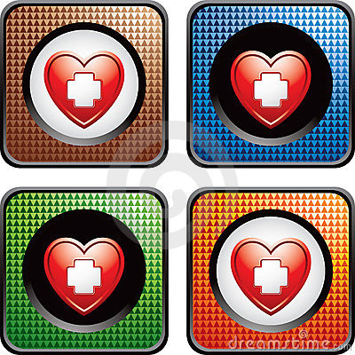Heart with first aid icon in multicolored web icon