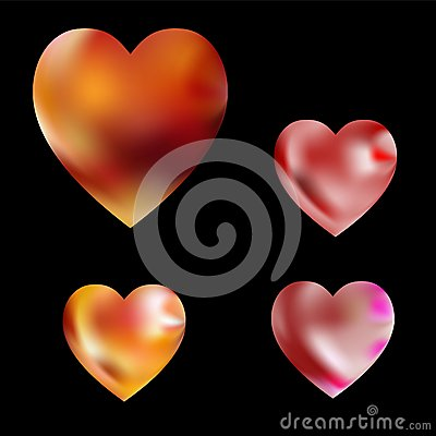 Heart with floral flames and flower