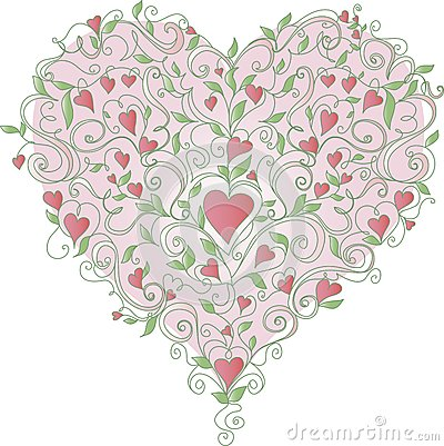 Heart with floral ornament, vector illustration