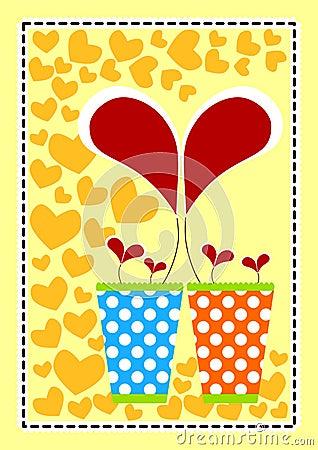 Heart Flower Vases Valentines Card