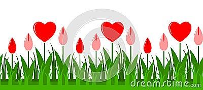 Heart flowers border