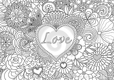 flowers in the heart shape pattern for coloring book stock vector image 62857171 - Coloring Pages Flowers Hearts
