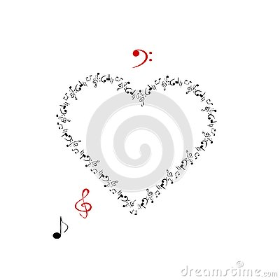 Heart in the form of music and musical signs Vector Illustration