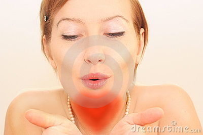 Heart form of woman s kissing