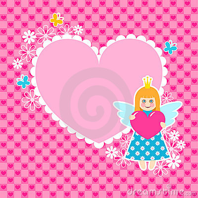 Heart frame with cute princess