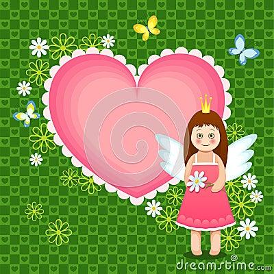 Heart frame with cute princess