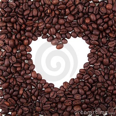 Free Heart Frame From Coffee Beans Stock Photography - 15412302