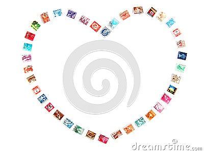 Heart frame, postage stamps
